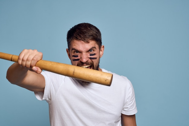 Angry man with baseball bat Premium Photo
