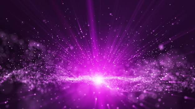 Animation of digital purple dust particles and light ray beam, small sphere particle line rise up. Premium Photo