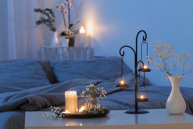 Premium Photo Antique Candlestick With Burning Candles In Bedroom