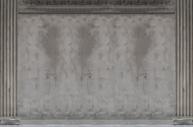 アンティークセメントの古典的な壁の建物の背景のローマスタイル Premium写真