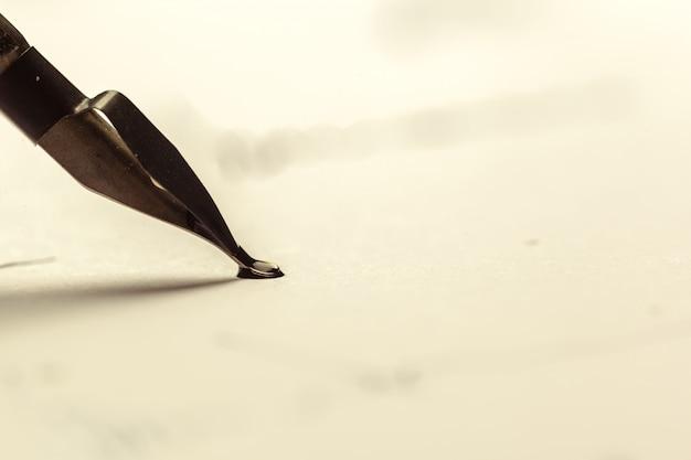 Antique fountain pen writing Premium Photo