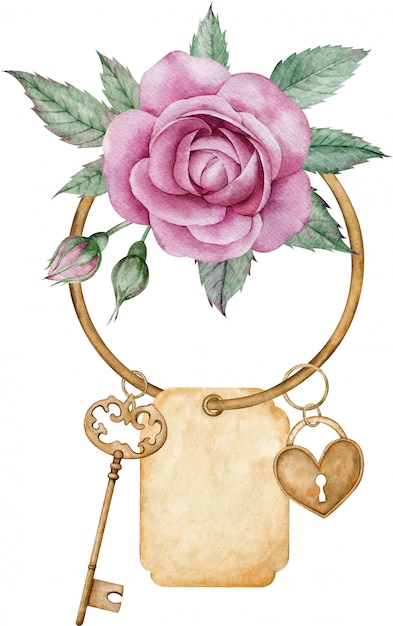 Antique golden key, pendant heart lock with pink rose, green leaves isolated Premium Photo