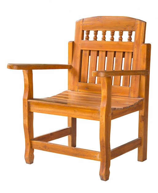 Antique wooden chair isolated on white with clipping path Premium Photo