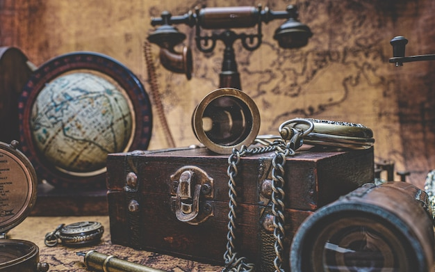 Antique wooden chest and old collection Premium Photo