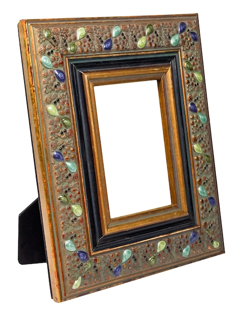 Antique wooden photo frame with empty space isolated on white background Premium Photo