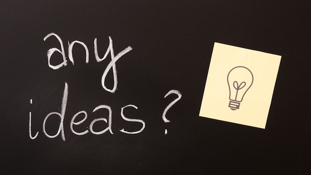 Any ideas text with question mark and sticky note on blackboard Free Photo