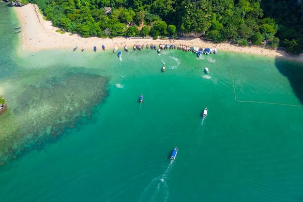 Ao nang and rai lay with pranang beach aerial landscape view Premium Photo