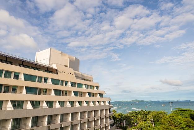 Apartment or condominium balcony on white cloud. Premium Photo