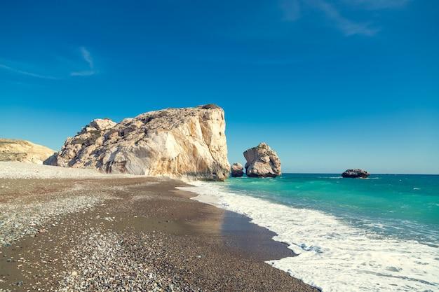 Aphrodite beach. sunny coast of cyprus Premium Photo