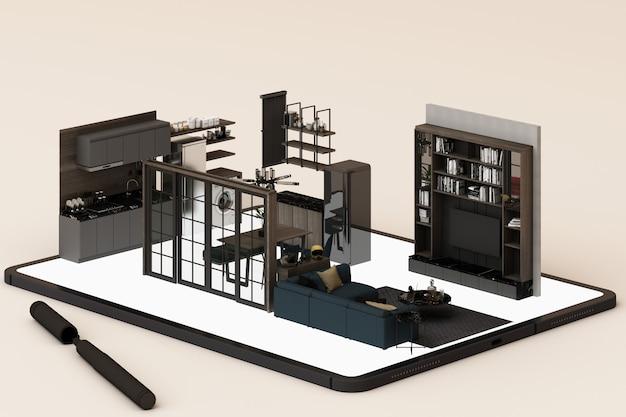 Концепция дизайна интерьера: бизнесмен с планшета с дизайн интерьера app на экране. 3d-рендеринг Premium Фотографии