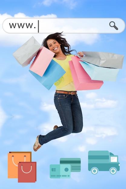 App background of shopping girl Free Photo