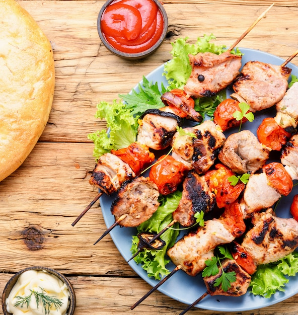 Appetizer kebab,grilled meat Premium Photo