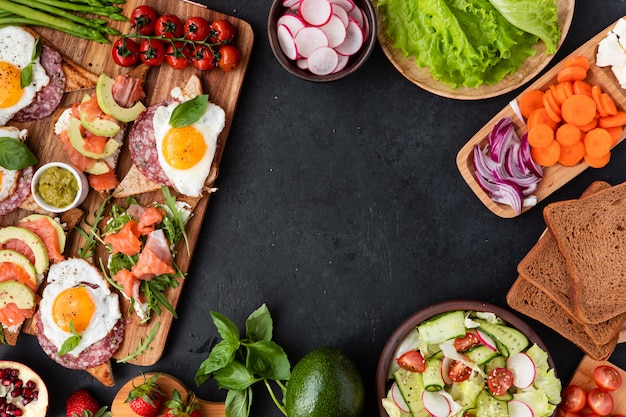 Appetizers table with healthy snacks Premium Photo