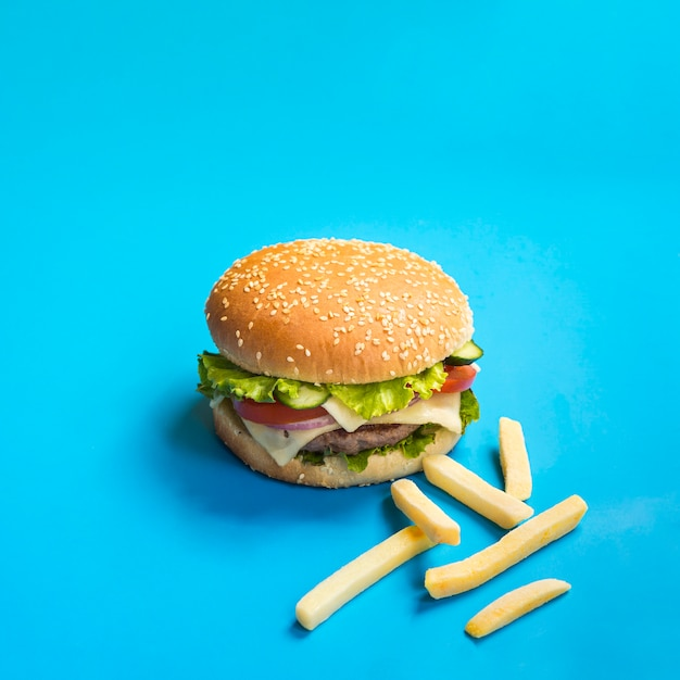 Appetizing burger with french fries Free Photo