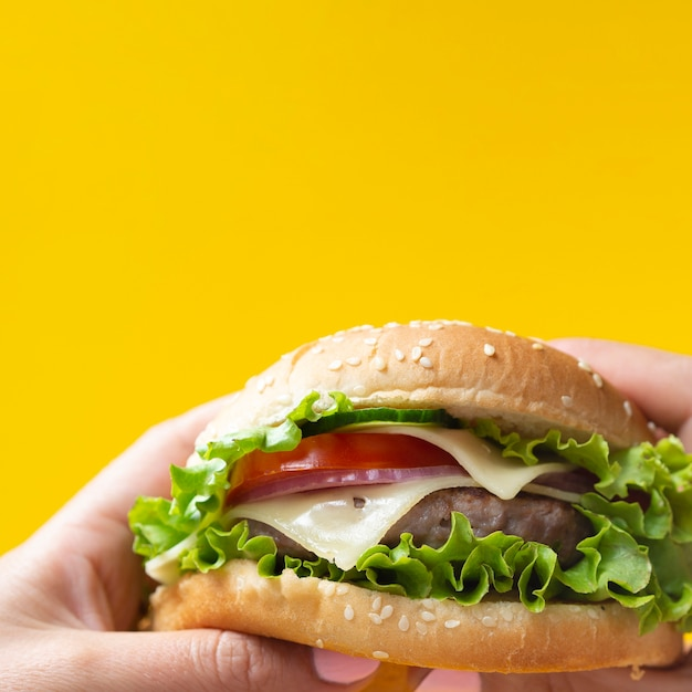 Appetizing burger on yellow background Free Photo