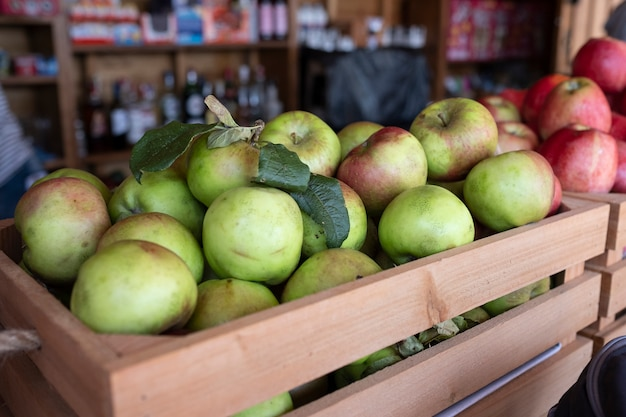 Apple batch box for the production of cider Premium Photo
