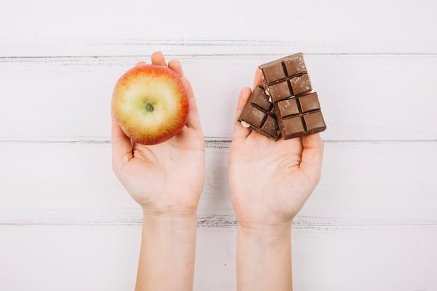 Apple and chocolate Free Photo