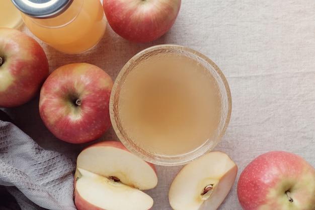 Apple cider vinegar with mother in glass bowl, probiotics food for gut health Premium Photo