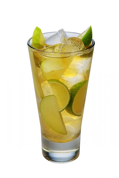 Apple cocktail with a sparkling wine with ice cubes in highball glass isolated on white Premium Photo