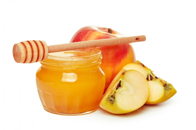 Apples and honey jar for jewish new year holiday isolated Premium Photo