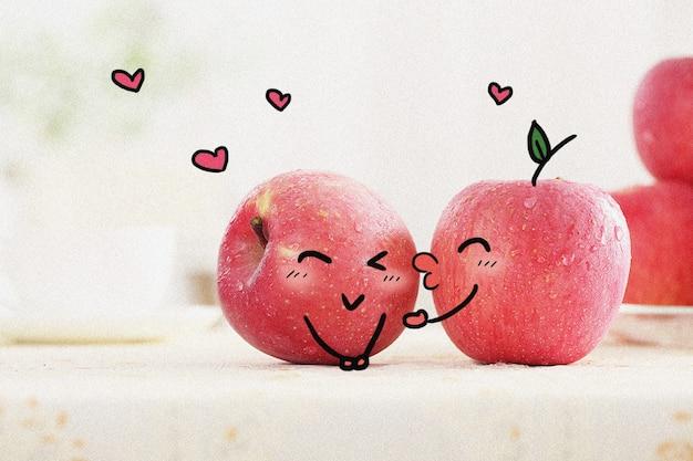 Apples' love: creative photography illustration mixed Premium Photo