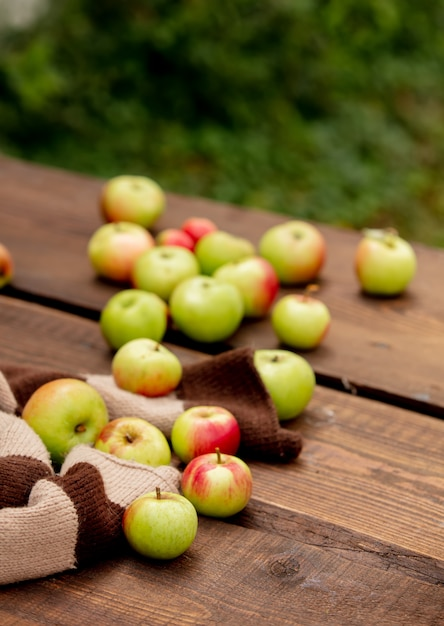 庭のテーブルの上のリンゴ Premium写真