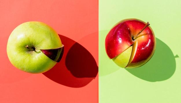 Apples with different slices Premium Photo