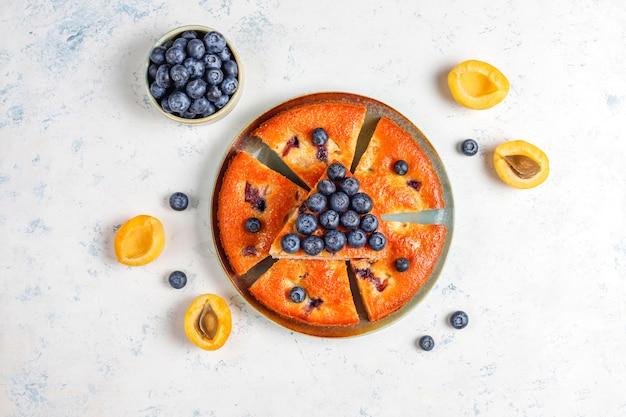 Абрикосовый и черничный пирог со свежей черникой и абрикосовыми фруктами. Бесплатные Фотографии