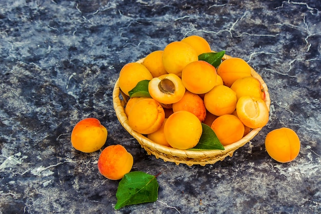 Apricots on a white background. selective focus. Premium Photo