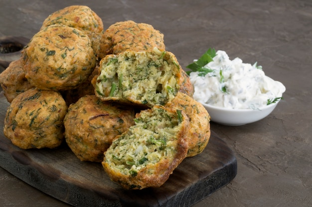 Arabic food, falafel. balls of chickpeas deep-fried. Premium Photo