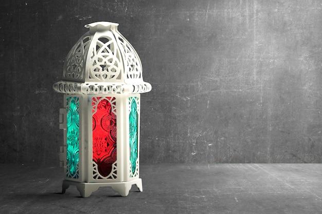 カラフルな光とアラビア語ランプ Premium写真
