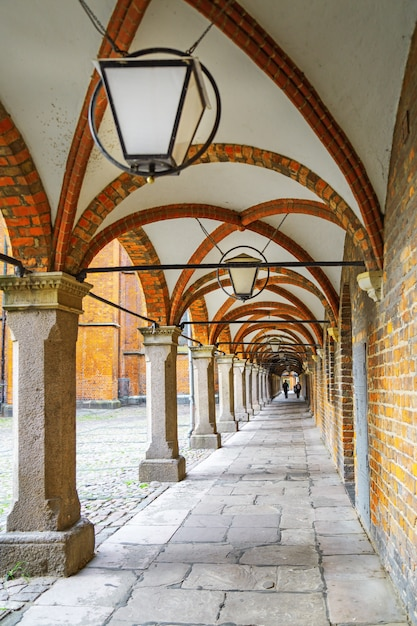Arched corridor ceiling in lubeck old town. Premium Photo