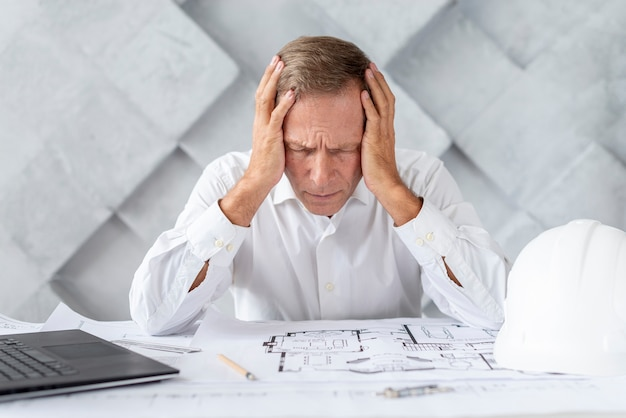 Architect being stressed about project Free Photo