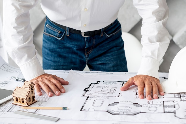 Architect doing his job at the office Free Photo