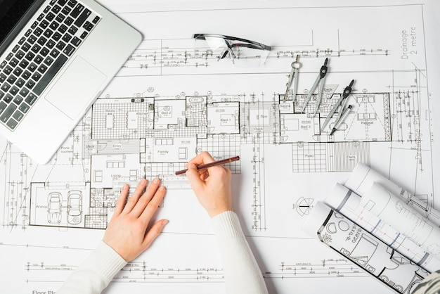 Architect drawing blueprint photo free download architect drawing blueprint free photo malvernweather Image collections