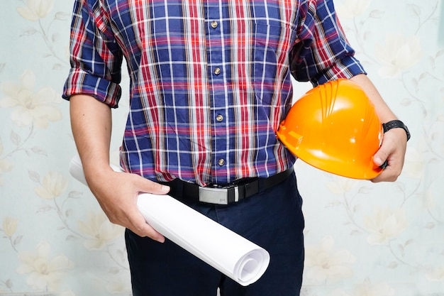 Architect or engineer working project with tools in office, construction concept. Premium Photo