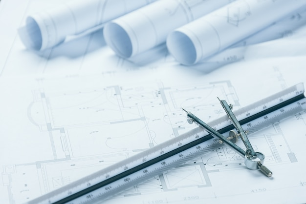 Architectural blueprints. Free Photo