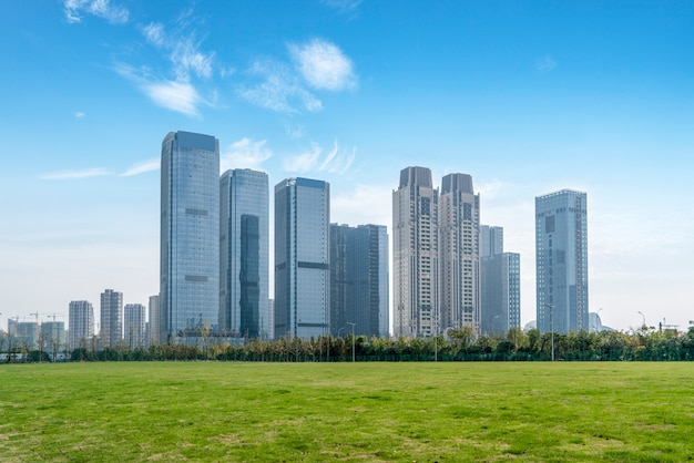 Architectural landscape of commercial building in central town Premium Photo