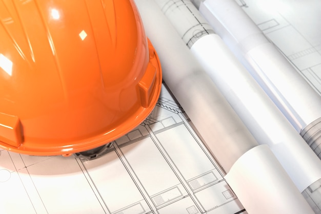 architectural plans project drawing and blueprints rolls with he Free Photo