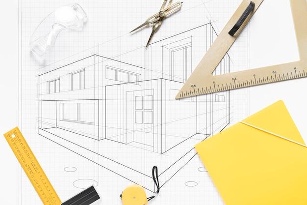Architectural project with different tools composition Premium Photo
