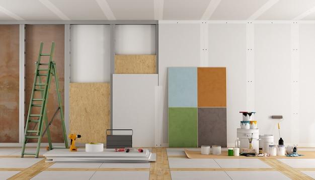 古い部屋の建築修復と色見本の選択。 3dレンダリング Premium写真