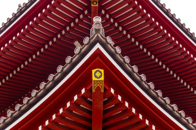 The architectural roof of a temple in japan. Premium Photo