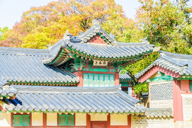 Architecture in changdeokgung palace in seoul city at korea Free Photo