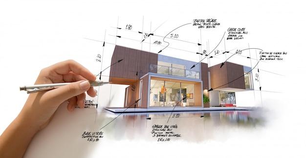 Архитектурный проект отделки и стиля Premium Фотографии
