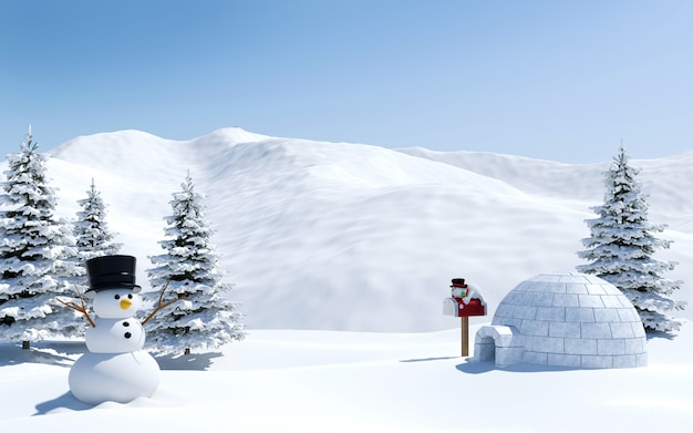 Arctic landscape snow field with igloo and snowman in christmas holiday north pole Premium Photo