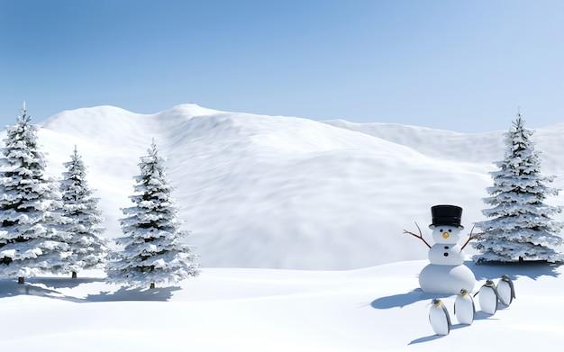 Арктический пейзаж, снежное поле со снеговиком и птицами пингвинов в рождественские праздники, северный полюс, 3d-рендеринг Premium Фотографии