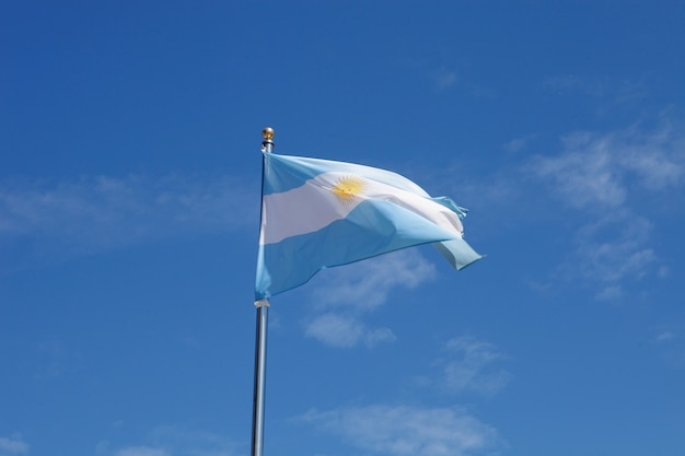Argentina flag waving in the mast Premium Photo
