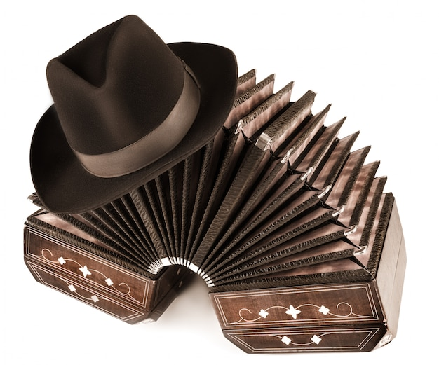 Argentine tango - bandoneon and a hat Premium Photo