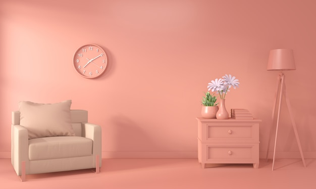 Armchair and decoration mock up room interior color living coral style Premium Photo