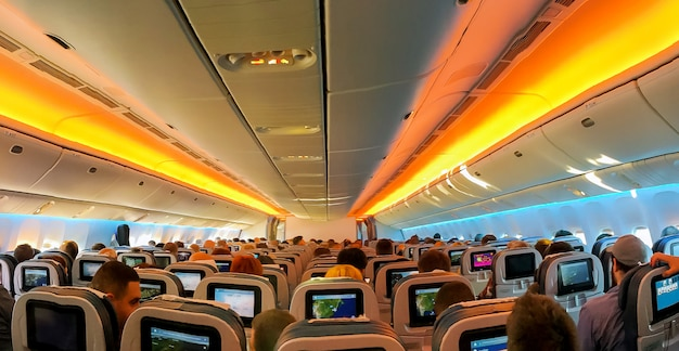 Armchairs in a built-in chairs aircraft cabin economy class Premium Photo